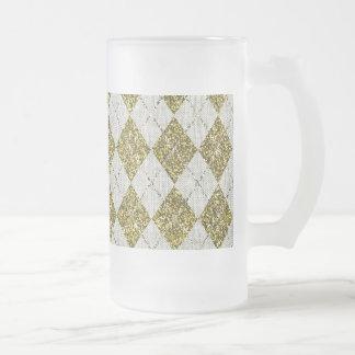 Gold Glitter Beige Linen Argyle Pattern Glass Beer Mug