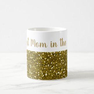 Gold Glitter Best Mom In The World Coffee Mug
