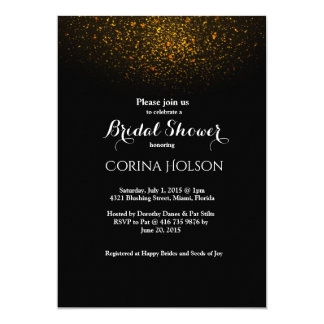 Gold Glitter Black Bridal Shower Invitation