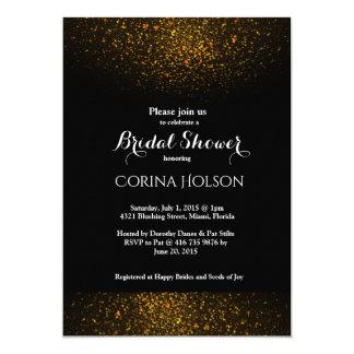 Gold Glitter Black Bridal Shower Invitation