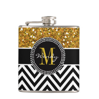 Gold Glitter Black Chevron Pattern Monogram Hip Flask