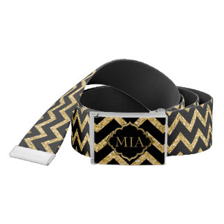 Gold Glitter Black Chevron Zigzag Pattern Monogram Belt