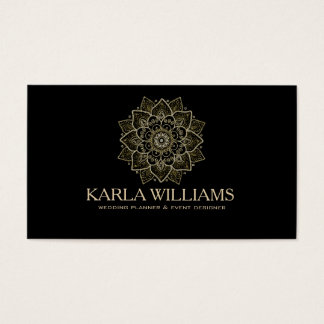 Gold Glitter & Black Floral Mandala Business Card