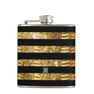 Gold Glitter & Black Stripe | DIY Monogram Hip Flask