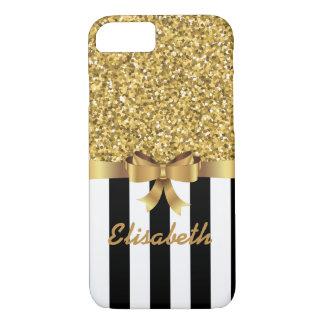 GOLD GLITTER BLACK vertical STRIPES BOW MONOGRAM iPhone 8/7 Case