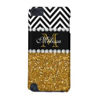 GOLD GLITTER BLACK WHITE CHEVRON MONOGRAMMED iPod TOUCH 5G COVERS