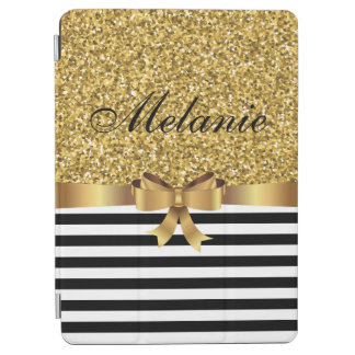 Gold GLITTER BLACK white stripe GOLD BOW MONOGRAM iPad Air Cover