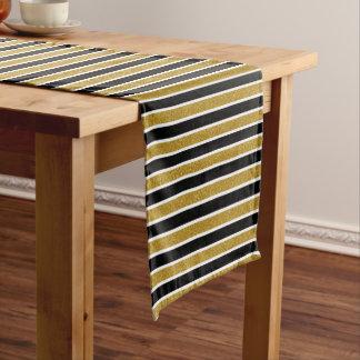 Gold Glitter Black & White Stripes Table Runner