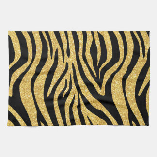 Gold Glitter Black Zebra Stripes Animal Print Hand Towels