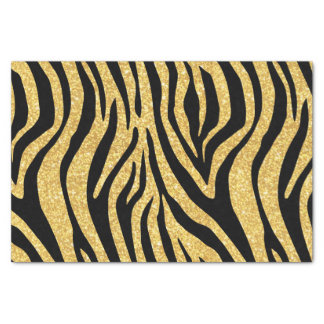 Gold Glitter Black Zebra Stripes Animal Print Tissue Paper