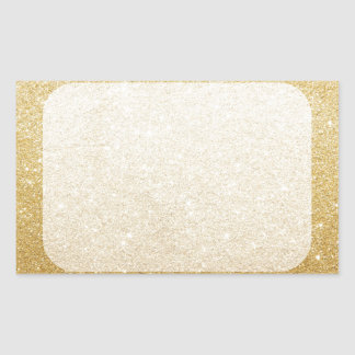 gold glitter blank template for customization rectangular sticker