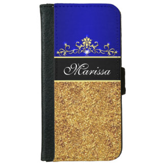 Gold Glitter Blue and Black iPhone 6 Wallet Case
