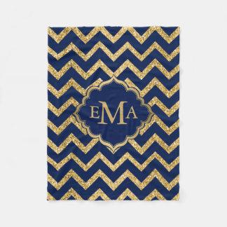 Gold Glitter Blue Chevron Zigzag Pattern Monogram Fleece Blanket