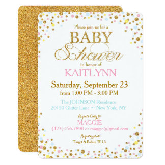 Gold Glitter Blue Pink Yellow Sprinkle Baby Shower 13 Cm X 18 Cm Invitation Card