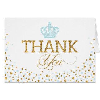Gold Glitter Blue Royal Crown Prince Thank You Card