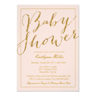 Gold Glitter Blush Pink Baby Shower Invitation