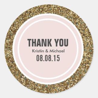 Gold Glitter & Blush Pink Custom Thank You Label Round Sticker