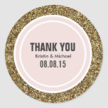 Gold Glitter & Blush Pink Custom Thank You Label Round Sticker