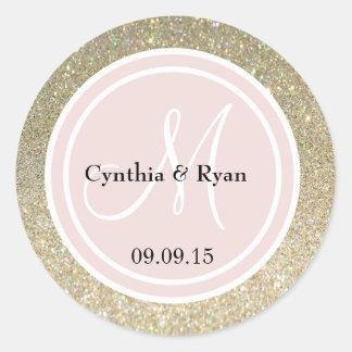 Gold Glitter & Blush Pink Wedding Monogram Round Sticker