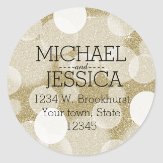 Gold Glitter Bokeh Personalized name and address Classic Round Sticker