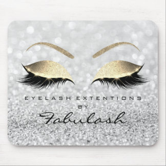 Gold Glitter Branding Beauty Lashes Silver Gray Mouse Pad