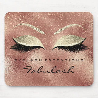 Gold Glitter Branding Beauty Skinny Lashes Peach Mouse Pad