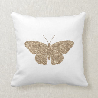 Gold Glitter Butterfly with White and Black Stripe Cushion