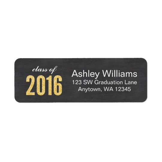 Gold Glitter Chalkboard Class of 2016 Graduation Return Address Label
