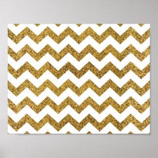 Gold Glitter Chevron Basic Poster