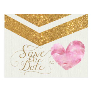 Gold Glitter Chevron Heart Save the Date Card