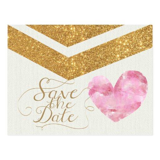 Gold Glitter Chevron Heart Save the Date Card Postcard