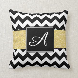 Gold Glitter Chevron Monogram Pillow