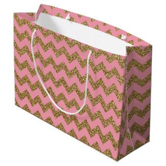 Gold Glitter Chevron Pattern on Pink Large Gift Bag