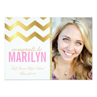 Gold Glitter Chevron Photo Graduation Invitation