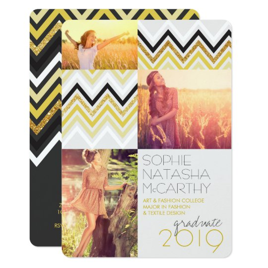 Gold Glitter Chic Chevron Stripes Graduation Party Card