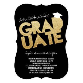 Gold Glitter Chic Graduate Cutout Graduation Party 13 Cm X 18 Cm Invitation Card