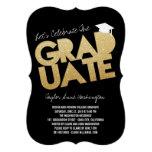 Gold Glitter Chic Graduate Cutout Graduation Party Personalised Invitations