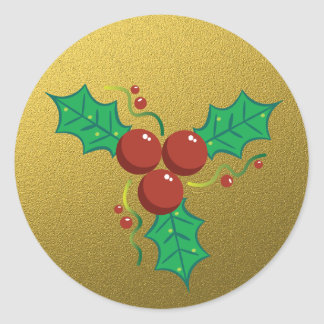 Gold Glitter Christmas Holly Classic Round Sticker