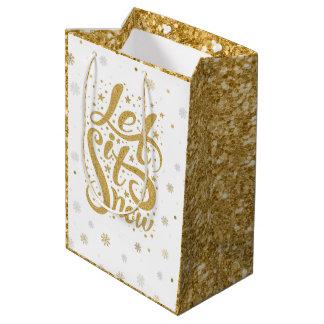 Gold Glitter Christmas Typography Let It Snow Medium Gift Bag