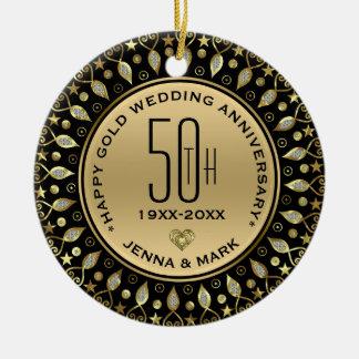 Gold Glitter Circle Frame 50th Wedding Anniversary Ceramic Ornament