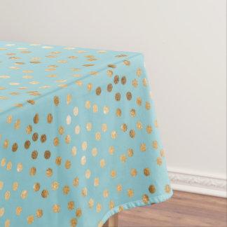 Gold Glitter City Dots on Aqua Blue Tablecloth