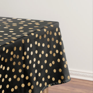 Gold Glitter City Dots on Black Table Cloth Tablecloth