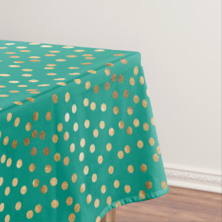 Gold Glitter City Dots on Jungle Teal Tablecloth