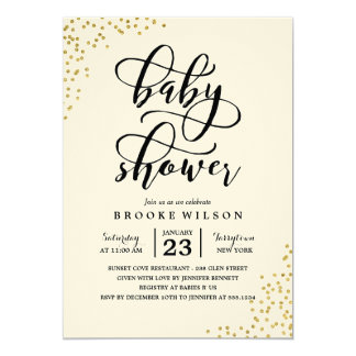 Gold Glitter Confetti Baby Shower Invitation