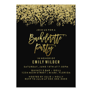 Gold Glitter Confetti Bachelorette Party Card