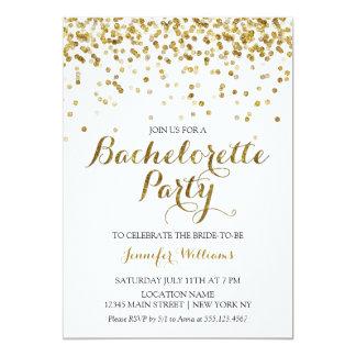 Gold Glitter Confetti Bachelorette Party Invite