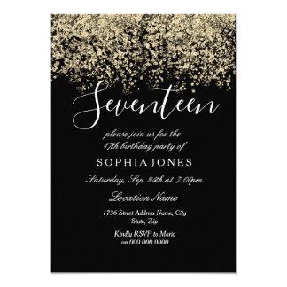 Gold Glitter Confetti Black 17th birthday party Card