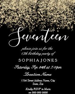 Gold Glitter Confetti Black 17th birthday party Invitation