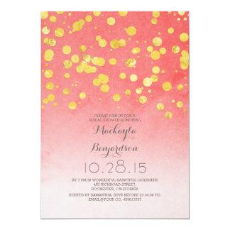 gold glitter confetti coral pink bridal shower card