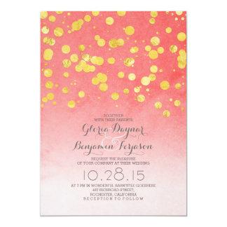 Gold glitter confetti coral pink wedding invites